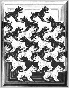 Escher verschillende honden zwarte en witte
