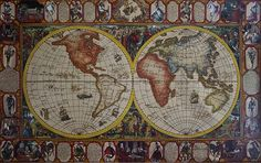 History of chess world map painted on leatheder by Vali Irina Ciobanu