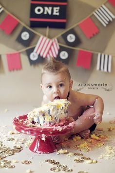 boy red & black pirate theme 1st birthday cake smash portrait session. ©Alana Marie Imagery www.alanamarieimagery.com www.facebook.com/AlanaMarieImagery