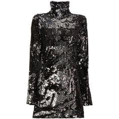 Halpern Longsleeved high neck sequinned mini dress ($2,245) ❤ liked on Polyvore featuring dresses, black, long sleeve mini cocktail dress, high neck short dresses, high-neck dress, short dresses and sequin cocktail dresses