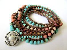 Crochet wrap bracelet / necklace, Azteca, turquoise, coral, bohemian jewelry, crochet