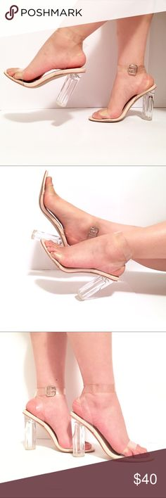 Strappy Sandal Clear Perspex with Round Heel 6/6.5 US6/UK4/EU7/AU6 Great condition  Super cute trendy clear perspex heel new take on a classic nude heel features nude accents  round heel silver buckle located on inside of ankle to continue illusion of glass slippers  worn once  looking to sell, feel free to send in offers Ego Official Shoes Heels