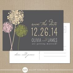 Dandelion Modern Personalized Wedding Save the Date Postcard / Magnet / Flat Card - CUSTOMIZE Colors and Content