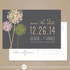 Dandelion Modern Wedding Save the Date Postcard - by ©MalloryHopeDesign