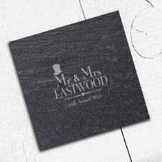Engraved Mr and Mrs Slate Coasters - Decorative Wedding