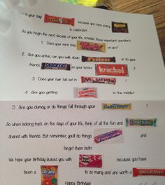 60th Birthday Gift Idea! Birthday Candy Grams, Birthday Gag Gifts, 90th Birthday, Party Gifts, Birthday Celebration, Birthday Ideas, Birthday Parties, Candy Poems, Candy Cards