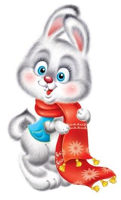 Cute Animals Images, Bunny Images, Cute Images, Cute Pictures, Christmas Bunny, Christmas Animals, Cartoon Drawings, Cartoon Art, Blue Nose Friends