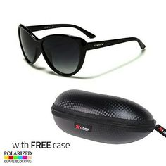 6e121aa4cd5ec Black Cat Eye Polarized Sunglasses Retro Classic Vintage Design Women Case E