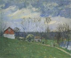 Cottages by the River by Gustave Loiseau