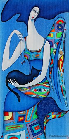 Angel With Cat by Wlad Safronow. (Oil Canvas)