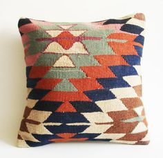 Organic Modern Bohemian Throw Pillow. Handwoven Wool Vintage Tribal Turkish Kilim Pillow Cover by sukan, $169.95