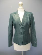 LAFAYETTE 148 Dark Green Leather Long Sleeves 2 Button Solid Jacket Sz 6 SMA8652