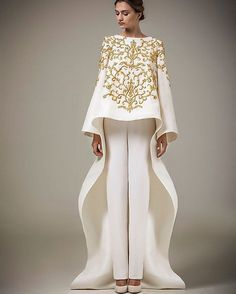 64d4f01c08a 2016 Ashi Studio Gold Embroidery Evening Gown Long Sleeves A-Line Pants  Caftan Satin Arabic Formal Dubai Abaya (including pants
