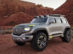 Something about and offroad Mercedes just doesn't seem right. I will stick with my Jeep. Mercedes-Benz Ener-G-Force concept is a G-Class for the future Mercedes Benz Classe G, Mercedes Benz G Klasse, Van Mercedes, Mercedes Concept, Mercedes Electric, Mercedes Jeep, Electric Cars, Pickup Trucks, New Trucks