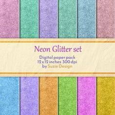 Neon Glitter, Neon Colored Digital Print, Digital Pattern, Colorful Patterns, Glitter Digital Pattern Set by SuzieDesignShop on Etsy File Image, Digital Scrapbook Paper, Green Glitter, Craft Business, Digital Pattern, Background Patterns, Abstract Pattern, Color Patterns, Digital Prints
