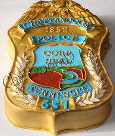 Chattanooga Police Badge cake for a young man who is graduating from the academy today.
