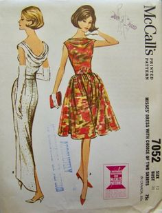 McCall's 7052 Misses' Evening Gown Cocktail Dress Bateau Neckline Draped Cowl Back Long or Short Skirt Vintage Sewing Pattern Bust 36 by GreyDogVintage on Etsy Vintage Dress Patterns, Vintage Skirt, Vintage Dresses, Evening Gown Pattern, Gored Skirt, Mccalls Patterns, 1960s Fashion, Sheer Dress, Retro Outfits