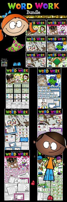 Are you seeking phonics activities to help support and increase your students reading fluency?  This bundle of Word Work activities is perfect for your literacy centers, RTI, fast finisher activities, ELL/ESL lessons, etc.  I personally use the packets included in this phonics bundle with my 2nd grade students during my tier 3 interventions.