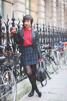 biker jacket: Paul & Joe Sister * sweater: Petit Bateau * necklace: ASOS * bag: Alex Medium Mysuelly * skirt: Cooperative * Derbies Zohra Ru...