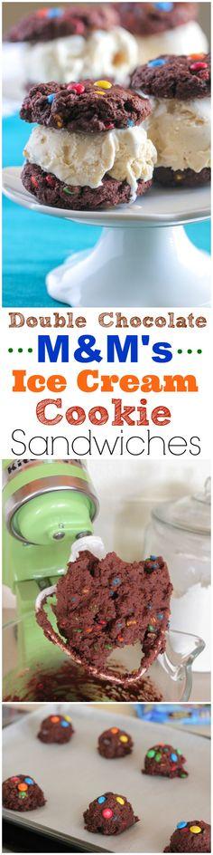 Double Chocolate M&M's Ice Cream Cookie Sandwiches #cookie #icecream #recipe…