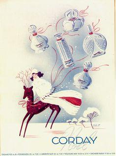 Corday perfume vintage 1940 Christmas ad.
