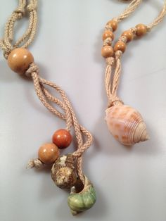 Two 1970s Vintage SHELL Wooden Bead JUTE and by thepopularjewelry, $12.95