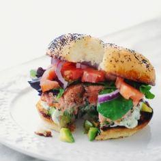 Pan Seared Salmon Burger with Avocado Aioli