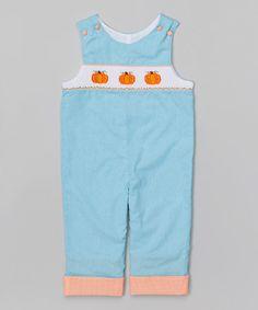 Look what I found on #zulily! Aqua Gingham Pumpkin Smocked Overalls - Infant & Toddler #zulilyfinds