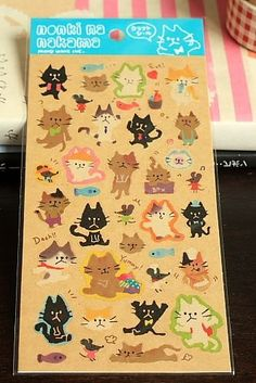 Japanese Craft Paper Sticker Seal - cats