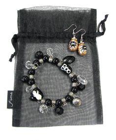 Wood Smiling BlackGray 1 34 inch Bats wBlack bead New Handcrafted Earrings