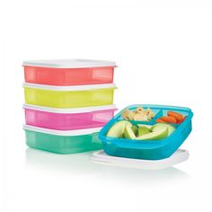 Tupperware Lunch-It® Containers: Bento box style lunch containers.         Take a healthy lunch full of your favorites in these reusable, colorful favorites.  Set of five reusable lunch or snack containers.  Each has one 1⅓-cup/340 mL and two ⅓-cup/105 mL separated compartments.  In Margarita, Coral Crush, Peacock, Laguna and Fuchsia Kiss. Not intended for microwave use. Dishwasher safe. Limited Lifetime Warranty.     Item:10126486000