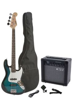 The Fever 4-String Electric Jazz Bass Style with 20-Watts Amplifier Gig Bag Clip on Tuner Cable and Strap has the...