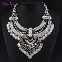 Vintage grande collares cadena Chunky gargantillas monedas Bib declaración de collares y colgantes joyería moda Colar