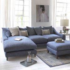 46 Living Room Design Furniture Sofa Set is Perfect for Your Home Living Room Sofa, Home Living Room, Living Room Designs, Living Room Furniture, Living Room Decor, Living Room With Corner Sofa, Blue Corner Sofas, Living Area, Blue Sofas
