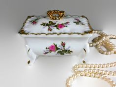 Rose Box with Lid and Trays ~ Vanity Set ~Dresser Set - Porcelain Box