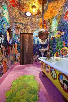 How fun! It's a Beatles Yellow Submarine bathroom! Funky Bathroom, Mosaic Bathroom, Bathroom Ideas, Diy Bathroom Decor, Bathroom Interior Design, Bedroom Decor, Small Bathroom, Kayaks, Canoes