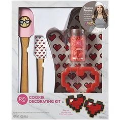 Rosanna Pansino by Wilton Cookie Decorating Kit Multi-Colored Cookie Decorating Supplies, Wilton Cake Decorating, Baking Supplies, Heart Shaped Cookies, Heart Cookies, Rosanna Pansino Nerdy Nummies, Candy Molds Silicone, Wooden Cake Toppers, Sprinkle Cookies