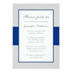 Discount Deals Navy Blue and Gray Chevron Bridal Shower 5x7 Paper Invitation Card in each seller