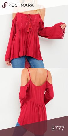 💈PRE ORDER NOW💈  Burgundry BOHO top Pre Order NOW!! Will be$39  Sexy burgundy Boho top featuring cold shoulders, flared bell sleeves and crochet trimmed details. Super comfortable fit!! color varies per screen SELF: 100% RAYON CONTRASTE: 100% POLYESTER SASSY Tops Tunics