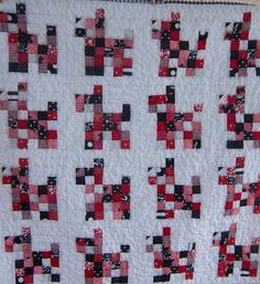 Patchwork Scotty Dog Baby Quilt in Black and White and Red