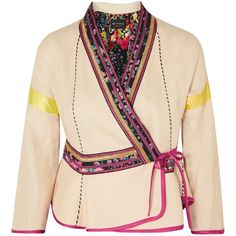 Etro Satin-trimmed embroidered linen-blend wrap jacket (59 955 UAH) ❤ liked on Polyvore featuring outerwear, jackets, wrap jacket, floral jacket, pink peplum jacket, floral print jackets and cream jacket