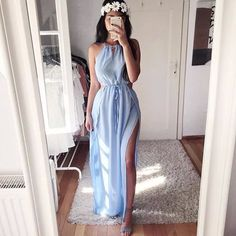 Blue Prom Dresses, Long Prom Dresses, A-Line Party Dress, Light Blue Party Dress, Prom Dresses Chiffon Prom Dresses Long Cute Dresses, Beautiful Dresses, Prom Dresses, Formal Dresses, Dress Prom, Beach Dresses, Look Fashion, Fashion Outfits, Dress Fashion