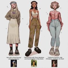 Girls in famous paintings but make it pick your fighter ✊🏻 . Cute Art Styles, Cartoon Art Styles, Fashion Design Drawings, Fashion Sketches, Drawing Fashion, Art Drawings Sketches, Cute Drawings, Kleidung Design, Clothing Sketches