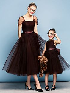 Ball Gown Square Neck Tea Length Tulle Prom Formal Evening Dress with Bow(s) Sash / Ribbon Ruching by TS Couture® 2017 - Chiffon Evening Dresses, Formal Evening Dresses, Ball Dresses, Ball Gowns, Bride Dresses, Formal Dress, Evening Gowns, Mother Daughter Matching Outfits, Mother Daughter Fashion