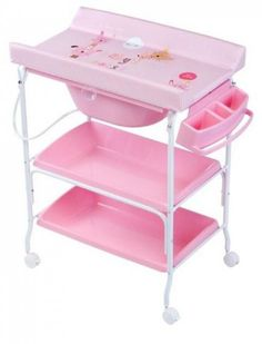 Bañera cambiador dos bandejas King Baby gatito rosa [1835GR] | 98,51€ : La tienda online para tu peke | tienda bebe pekebuba.com