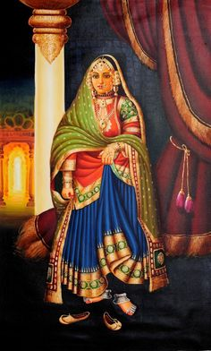 A Royal Lady, Oils Oil on CanvasArtist: Anup Gomay Mughal Paintings, Tanjore Painting, Indian Art Paintings, Fantasy Paintings, Oil Paintings, Rajasthani Painting, Rajasthani Art, Indian Traditional Paintings, Indian Women Painting