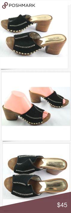 38cc41b7dafdae Michael Kors Black Suede High Heel Sandals Sz 7.5 Michael Kors High Heel  Sandals Womens Size 7.5 Black Leather Studded Slip Ons Shoes show sign of  regular ...