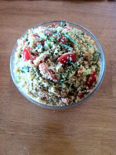 Under 500 cal Fiesta Couscous  Couscous 1c, Wtr 1c, Olive Oil 3T, Garlic 1T, Red Bell Pepper ¼c, Scallions 4ea, Tomatoes (cherry 1/4) 1c, Basil ½c, Balsamic Vinegar 1T, Salt & Pepper To Taste, Parmesan Cheese (grated) ¼c 1. Stir couscous in boiling water & return water 2 boil. Cvr & rem pot frm heat. Let sit 5 minutes, fluff w/ a fork. 2. When cooking, heat oil in sauté pan ovr med heat. Place garlic, grn onions & peppers, sauté for 2-3 min, add tomatoes, basil & couscous. 3. Stir in… Mental Health Support, Bell Pepper, Balsamic Vinegar, Couscous, How To Stay Healthy, Olive Oil, Healthy Living, Nutrition, Stuffed Peppers