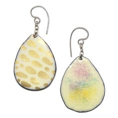 'Snowsuger' drop earrings - Kiln-fired enamel & Sterling Silver - pastel dusting on one side & gold dots on the other - from the 'Summertime' range WebsireERSnowSugarReversible Handmade Sterling Silver, Sterling Silver Earrings, Big Design, Gold Dots, Enamel, Drop Earrings, Summertime, Pastel, Jewelry