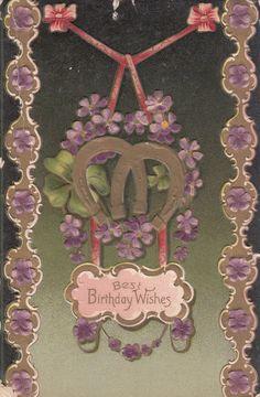 Best Birthday Wishes Horseshoes Purple Flowers Embossed Vintage Postcard c 1910